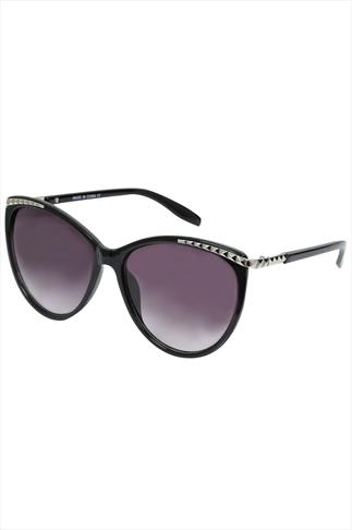 Black Sunglasses With Studded Rim Detail