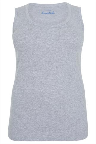 Grey Marl Ribbed Cotton Vest