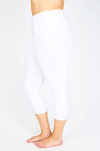 White TUMMY CONTROL Viscose Elastane Cropped Leggings 038393