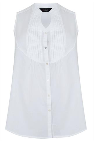 White Sleeveless Blouse With Pintuck Detail