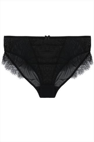 Black Briefs With Lace Contrast Trim