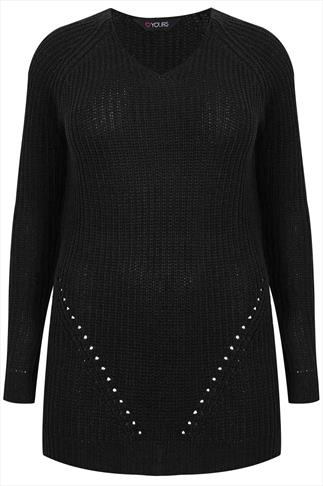 Black Longline Knitted V Neck Jumper With Pointelle Detail