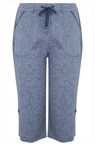 Blue Cross Dyed Cotton Linen Mix Cropped Pull On Trousers