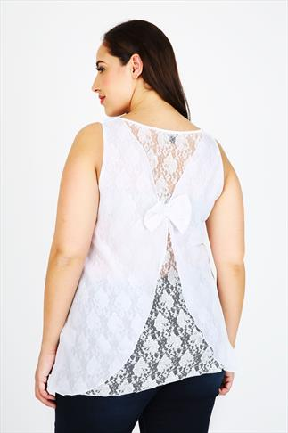White Sleeveless Top With Lace & Bow Back