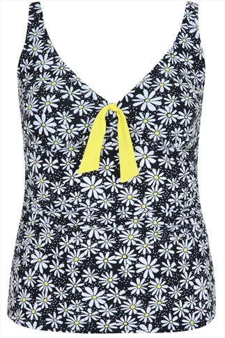 Black & Yellow Daisy A Line Tankini Top