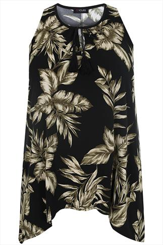 Black & Khaki Leaf Print Sleeveless Top With Hanky Hem