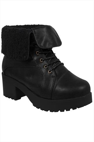 Black Lace Ankle Boot With Cleated Heel  In EEE Fit