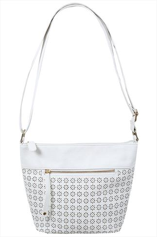 White Floral Lazer Cut Bucket Bag