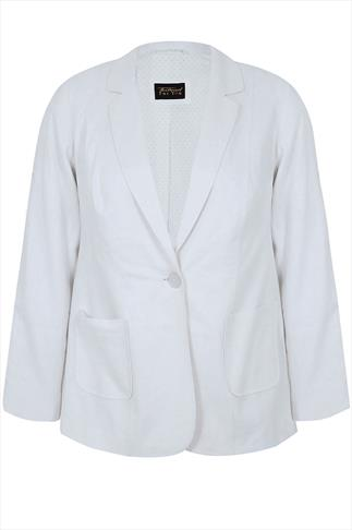 White Linen Single Button Jacket With Contrast Polka Dot  Lining