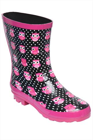Pink And Black Owl Print Patent Short Wellies In EEE Fit