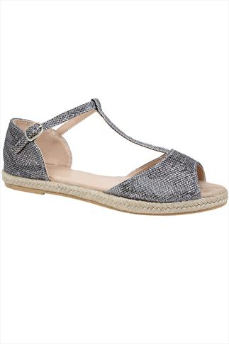 Silver Peep Toe Espadrille Sandals In E Fit