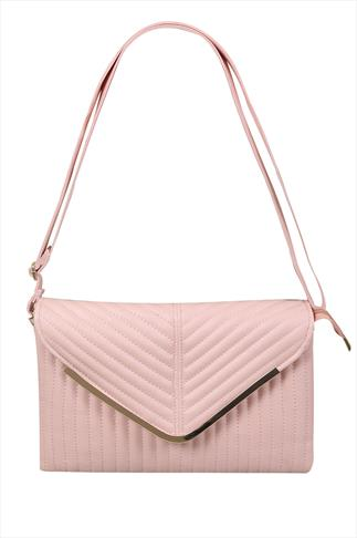 Pastel Pink Textured Shoulder Bag With Detachable Straps 057256