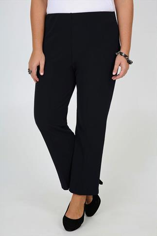 Navy Pull On Ribbed Bootcut Trousers - PETITE