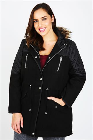 Black Velour Parka Coat With Contrasting Quilted Panels