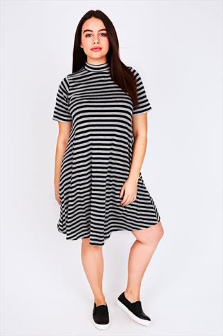 Black & Grey Marl Striped Turtle Neck Swing Dress