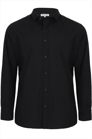 Slate Grey Black Formal Long Sleeve Shirt