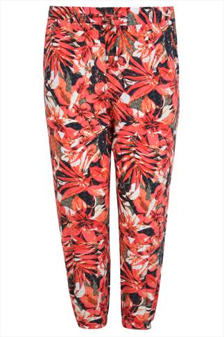 Orange & Green Palm Print Harem Trousers With Pockets