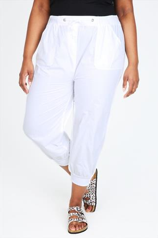 White Cropped Poplin Trousers With Ribbed Waistband