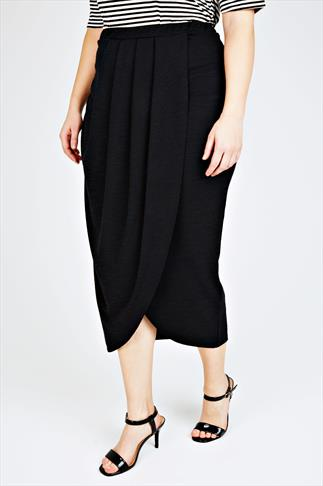 Maxi Skirts Black Textured Wrap Front Maxi Skirt With Pleat Detail 057497