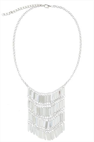 Silver Chainmail Longer Line Statement Necklace
