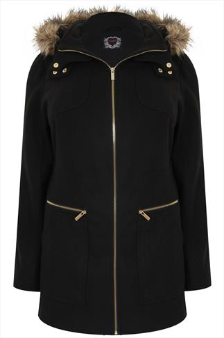 Black Velour Coat With Fur Trim Hood