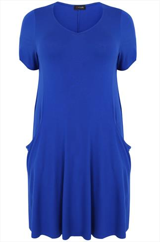 Blue Jersey Dress With Drop Pockets