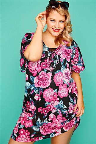 Kaftans & Cover Ups Pink Floral Print Kaftan With Silver Sequins 055441