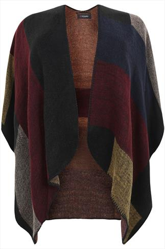 Brown & Red Colour Block Woven Wrap