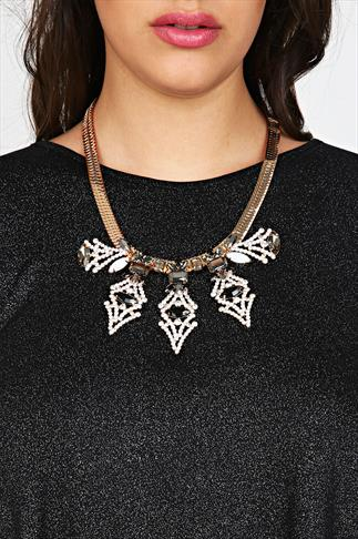 Black, Silver & Gold Statement Necklace