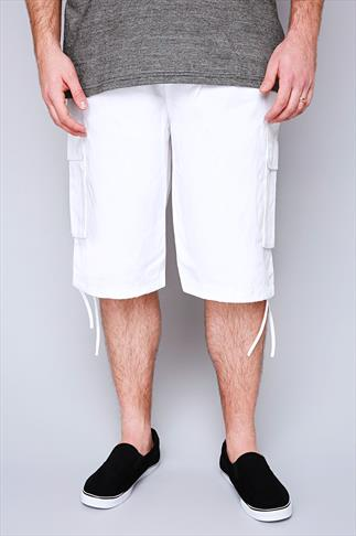 NOIZ White Cotton Cargo Shorts With Pockets