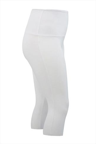 White TUMMY CONTROL Cropped Leggings
