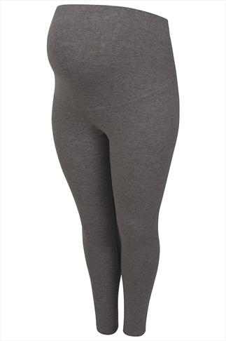 BUMP IT UP MATERNITY Charcoal Cotton Elastane Leggings With Comfort Panel