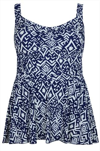 TUMMY CONTROL Navy & Cream Tribal Print Swimdress With Ruching Detail