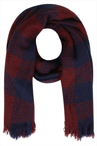 Wine Red And Navy Checked Blanket Scarf