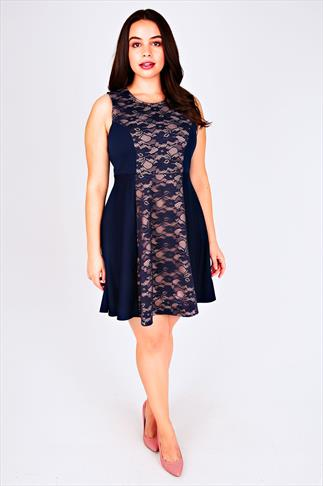 Navy & Nude Lace Colour Block Sleeveless Skater Dress