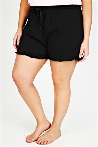 Pyjama Separates Black Cotton Jersey Pyjama Shorts With Frill Edge 055251