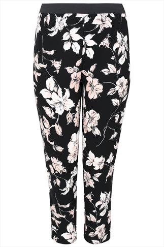 Black, White & Peach Floral Print Jersey Cigarette Trousers