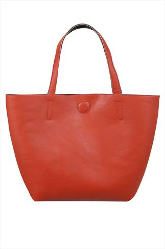 Burnt Orange & Black Reversible PU Shopper Bag