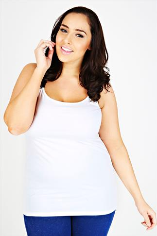 White Longline Cotton Elastane Vest Top With Adjustable Straps