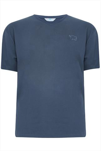 BadRhino Denim Blue Basic Plain V-Neck T-Shirt