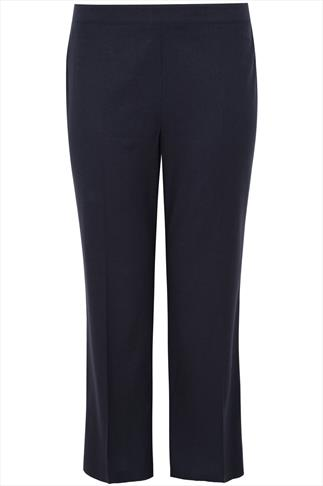 Navy Full Length Linen Mix Elasticated Back Trouser