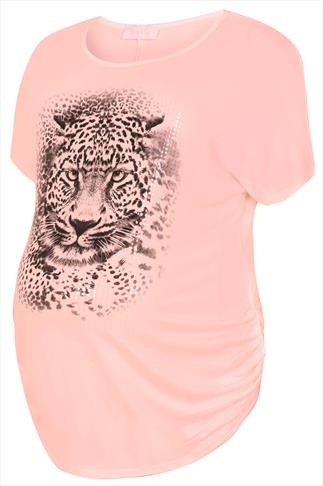 BUMP IT UP MATERNITY Pale Pink Leopard Print Short Sleeve Top