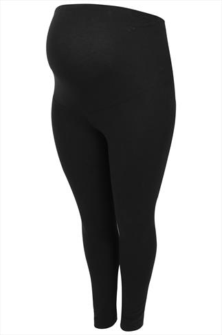 BUMP IT UP MATERNITY Black Cotton Elastane Leggings With Comfort Panel