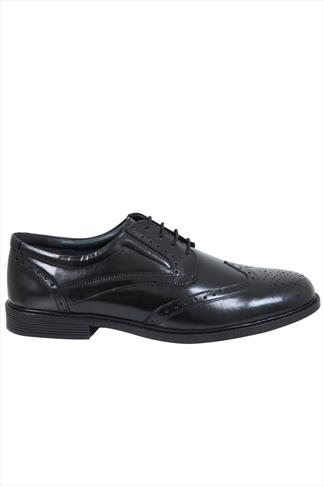 Black LEATHER Lace-Up Brogues In Wide Fit