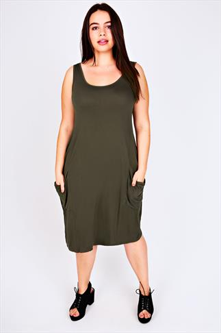 Midi Dresses Khaki Drape Pocket Sleeveless Jersey Dress 101004