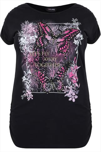 Black Butterfly Print Short Sleeved T-Shirt