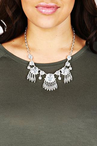 Silver & Clear Stone Jewelled Statement Necklace