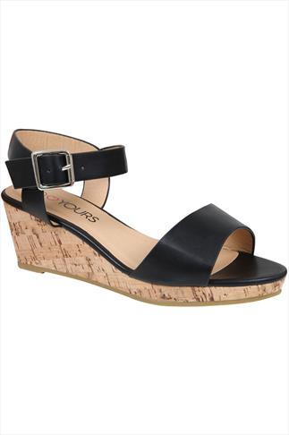 Black High Cork Wedge Sandal In EEE Fit
