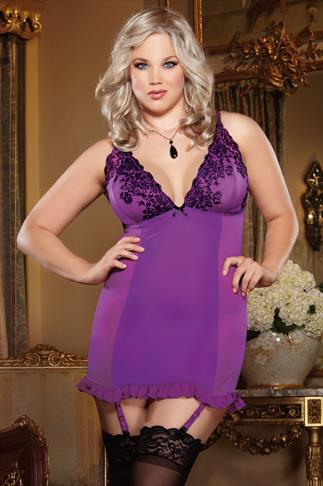 Nuisette DREAMGIRL Purple And Black Chemise, Garter And Thong Set 014086