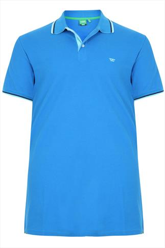 D555 Bright Blue Polo Shirt With Blue Trim - TALL